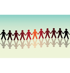 human figures in a waved row vector image