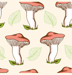 forest mushrooms and falling leaves vector image vector image
