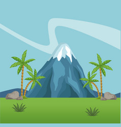 mountains and forest scenery vector image vector image