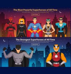 superheroes horizontal banners vector image vector image