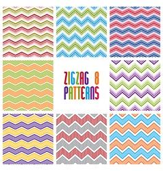 Zig zag geometric seamless patterns set vector image