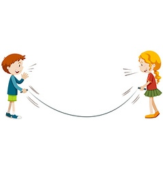 Boy and girl playing jump rope vector image