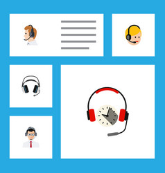 flat call set of telemarketing earphone vector image vector image
