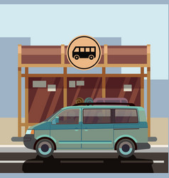 flat style minibus on bus stop vector image