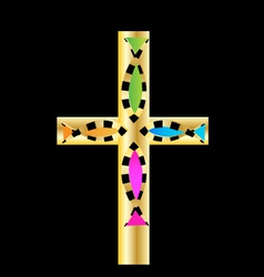 Gold cross with colored fish design vector image vector image