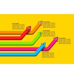 Intersecting colorful numbered graph arrows rising vector image