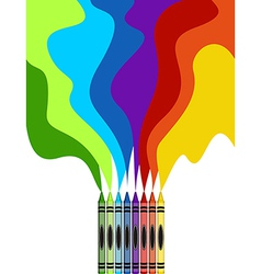 Large colored crayons drawing a rainbow art vector image