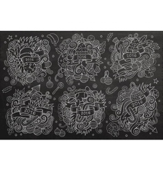 New year doodles cartoon hand drawn designs set vector image vector image