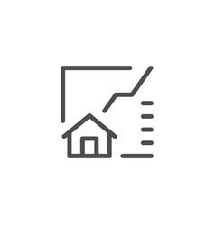 real estate graph line icon vector image