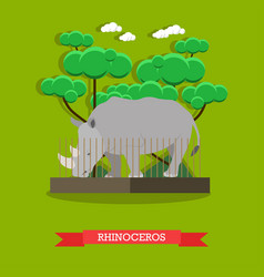 rhinoceros in flat style vector image vector image