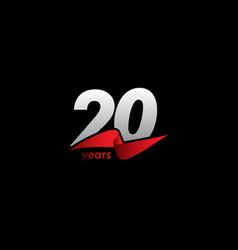 20 years anniversary celebration white black red vector