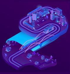 3d isometric railway station roads vector image