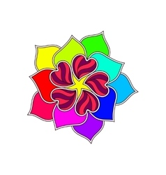 Abstract Flower From Bright Hearts Over vector image