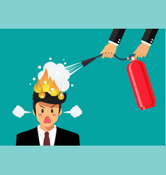 angry businessman with head on fire gets help vector image