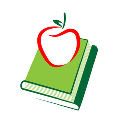 apple with stack of books icon vector image