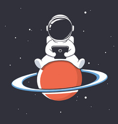 Astronaut with smartphone vector