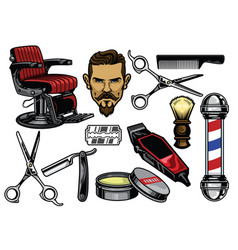Barbershop object set in color vector