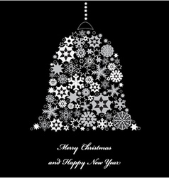 Bell from white snowflakes vector