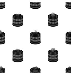 Bicolor cake icon in black style isolated on white vector