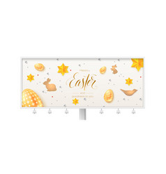 billboard with vintage easter pattern hand vector image