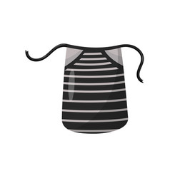 Black apron with gray stripes protective garment vector