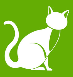 black cat icon green vector image