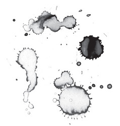 Black ink and paint drips and splatters vector