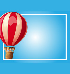 Border template with kids in red balloon Vector Image
