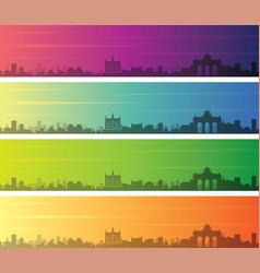 Brussels multiple color gradient skyline banner vector