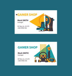 business cards on white background for video gamer vector image
