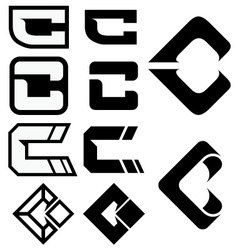 C Logo Icons 01 vector image
