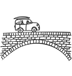 Car on bridge doodle small vehicle with two stick vector