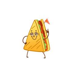 cartoon sandwich character waving hand vector image