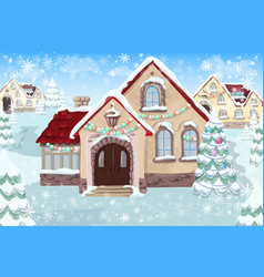 christmas landscape with christmas tree and house vector image