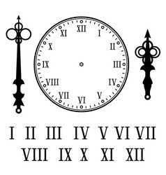 Clock with roman numerals with numbers hour vector