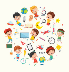 Collection of kids and science vector