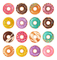colorful donuts cartoon glazed desserts decorated vector image