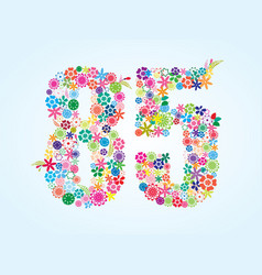 Colorful floral 85 number design isolated on vector
