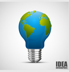 creative idea earth lamp earth sign green energy vector image