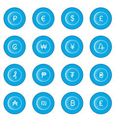 currency gold coin icon blue vector image