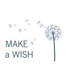 Dandelion make a wish simple minimalist style vector
