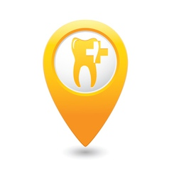 Dental clinic icon pointer yellow vector