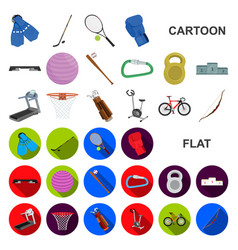 Different kinds of sports cartoon icons in set vector