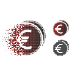 Dissolved dot halftone euro coins icon vector