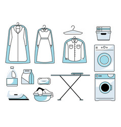 Dry cleaners or laundry room isolated icons vector