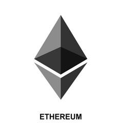 Ethereum crypto currency blockchain flat logo vector