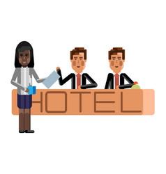 european receptionists at hotel reception desk vector image