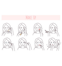 Face makeup application steps vector