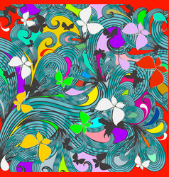 fantasy colorful floral seamless pattern hand vector image