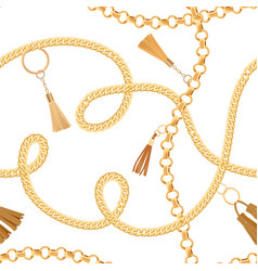 fashion seamless pattern with golden chains fabric vector image